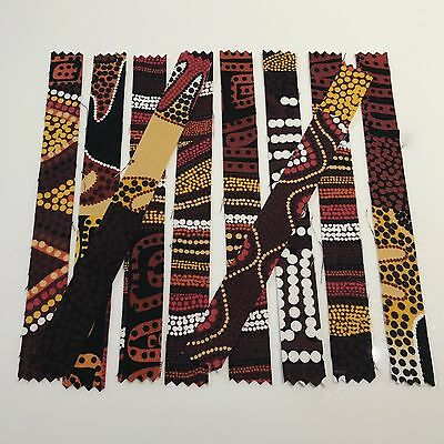 Handmade Fabric Washi Tape. 5+ Designs. ABORIGINAL PATTERNS. 14-17cm. From Aus