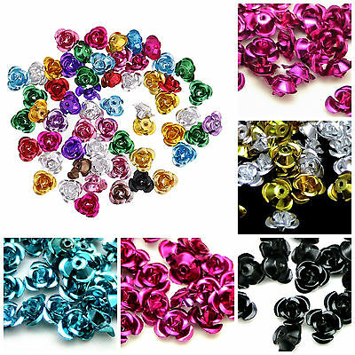100pcs  Rose Flower Aluminum Spacer Beads Jewelry Making 6mm DIY Bracelet Charms