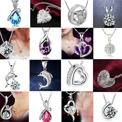 Charm Crystal Pendant Chunky Statement Choker SILVER Chain Necklace Jewelry