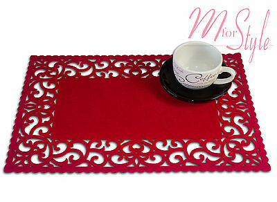 PAIR of Red Felt Placemat Table Mat Openwork Design