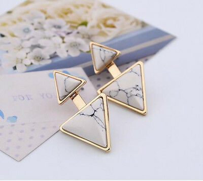 Fashion Women Gold Plated Earrings Turquoise Double Triangle Ear Stud Jewelry