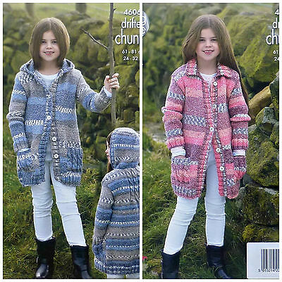 KNITTING PATTERN Girls Hooded or Collar Coat with Pockets Chunky King Cole 4606