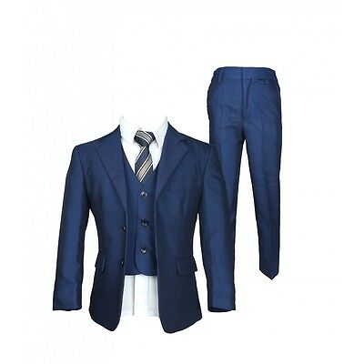 Boys 5 PC Formal  Blue Page Boy Suit Italian Design Page Boy Wedding Prom Suits
