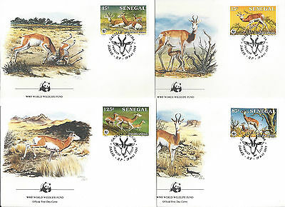 Senegal 1986 WWF Gazelle FDC Animals Set of 4 FDC
