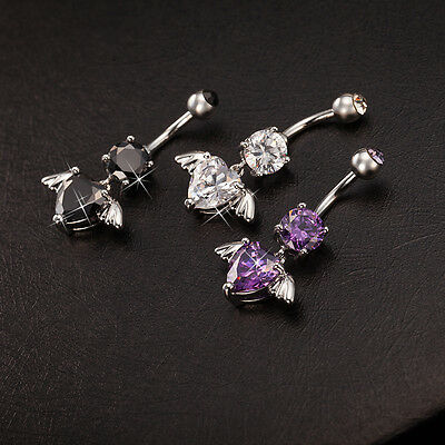 Navel Belly Bars Crystal Dangly Body Piercing Belly Button Ring Angel Heart