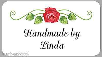 65 x Personalised Stickers Mini Vintage Rose Scroll Handmade by Labels