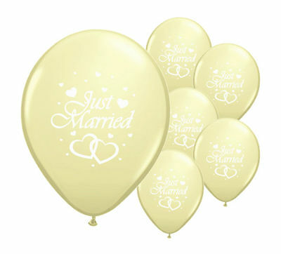 """8 Just Married Ivory 12"""" Helium Quality Pearlised Wedding Balloons"""