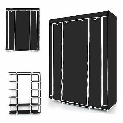 Triple Canvas Wardrobe With Hanging Rail Multiple Storage Unit Home Furniture