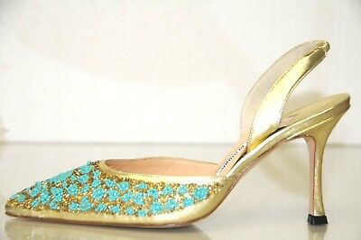 23288e371  1285 New MANOLO BLAHNIK CAROLYNE JEWELED Gold Turquoise Beads Heels SHOES  37
