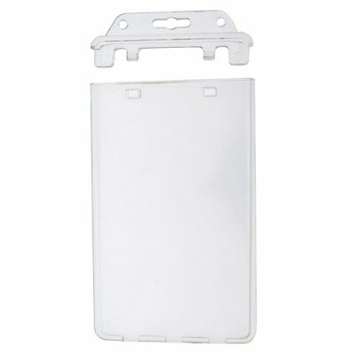 Specialist ID Permanent Locking Hard Plastic Badge Holder - Clear & Vertical