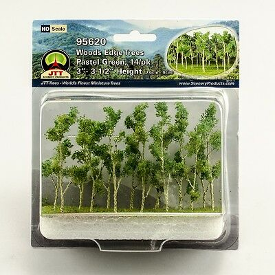 """JTT Scenery Products Pastel Green Woods Edge Trees HO-Scale 3""""- 3.5"""" 14/pk 95620"""