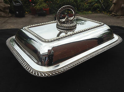 Antique Silver Plate Serving Dish Lid & Removable Handle