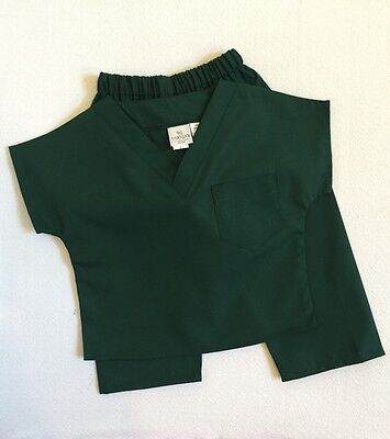 Hunter Green Kids Scrubs Set by PGD - XL Solid Color Poly/Cotton Blend