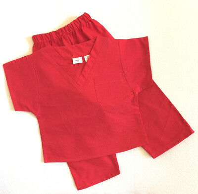 Red Kids Scrubs Set by PGD - M Solid Color Poly/Cotton Blend