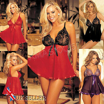 UK Womens Ladies Lingerie Nightwear Underwear G String Lace Sleepwear Babydoll