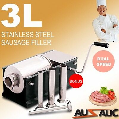 NEW STAINLESS STEEL 3kg SAUSAGE FILLER 3L HORIZONTAL STUFFER SALAMI MAKER