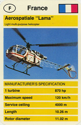 "Single Vintage Game Card: Aerospatiale ""Lama"" (Helicopter)"