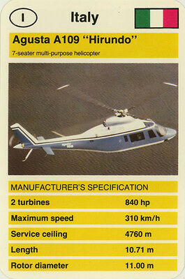"Single Vintage Game Card: Agusta A109 ""Hirundo"" (Helicopter)"