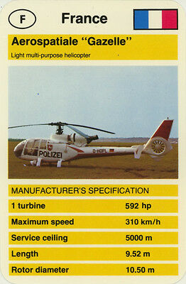 "Single Vintage Game Card: Aerospatiale ""Gazelle"" (Helicopter)"