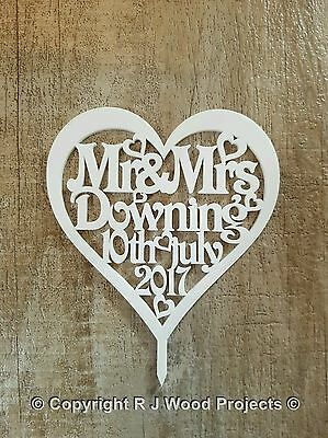 Cake Topper Personalised Mr & Mrs Acrylic