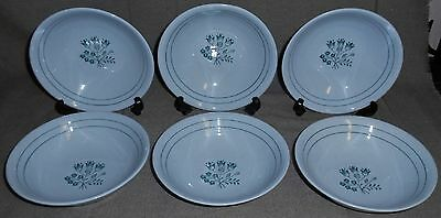 Set (6) Booths Blue Mist CANTERBURY - GREEN PATTERN Creal/Soup Bowls ENGLAND