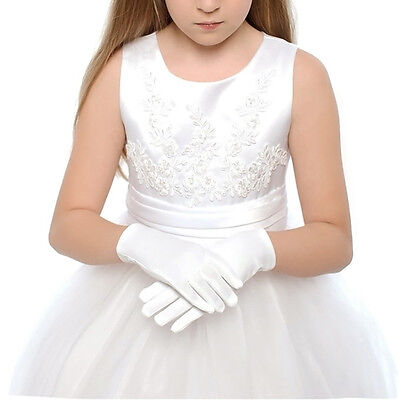 1Pair Kids Gloves White Short Satin Feel Hold Flower Performance Dance for 3-10Y