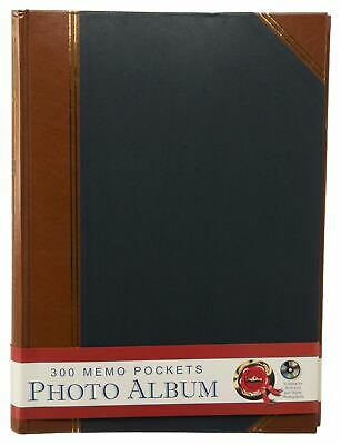 Large Blue Duo Leatherette Memo Photo Album 50 White Slip-in Leaves Case Bound