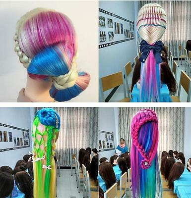 Salon Human Colorful Hair Mannequin Practice Training Head Hairdressing