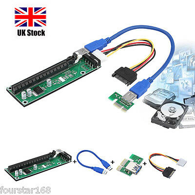 PCI-E USB3.0 Express 1x to16x Extender Riser Board Card Adapter SATA Power Cable