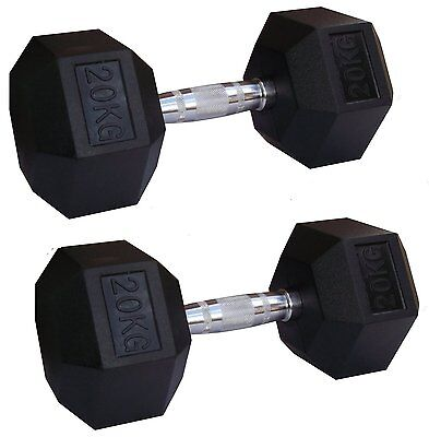2 x 10kg Rubber Encased Hex Hexagonal Dumbbells Pairs Ergo Sets Gym Weights