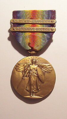 VINTAGE WW 1 Victory Medal also 2 Battle Bars