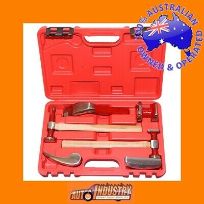 7 Pce Quality Hammer & Dolly Panelbeating Kit Auto Body Panel Beating Repair Kit