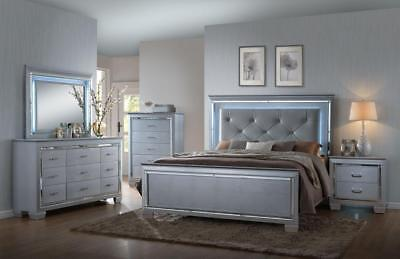 Crown Mark RB7100 Lillian king Size Bedroom Set 5pc. Glam Chic Contemporary