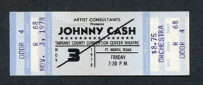 Original 1978 Johnny Cash unused full concert ticket Fort Worth Texas