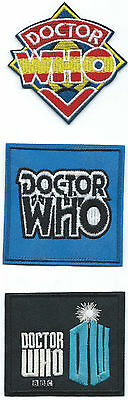 Set of 3 Doctor Who Embroidered Patches Iron-on Good Luck Charm Logo BBC