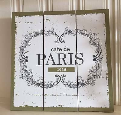 Shabby Wooden Wall Plaque Chic French Vintage Style CAFE DE PARIS Hanging Sign