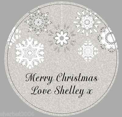 24 x 40mm Personalised Stickers Round Christmas Snowflakes Grey Labels Seals