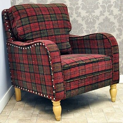 Luxury Warm Claret Red Amp Green Check Tartan Fabric Arm