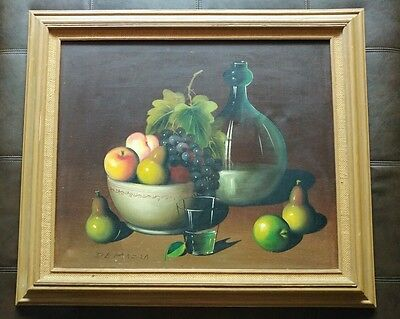 ? Violette De Mazia, French 1896-1988 Still Life Painting Oil On Canvas Of Fruit