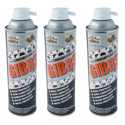 Gibbs Brand Lubricant, Penetrant, Water Repellent, 12 oz Spray Can, Set of 3