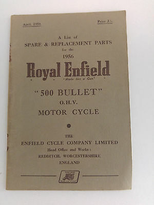 Vintage Royal Enfield Spare Parts List Booklet for 500 Bullet 1956