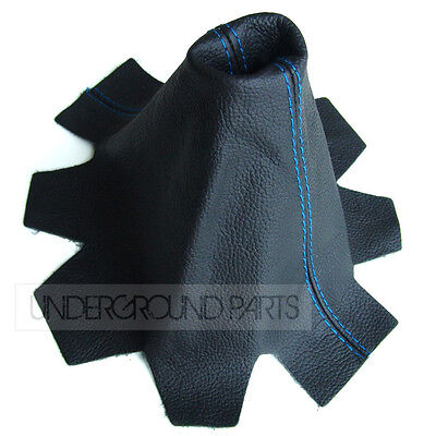 Black Leather With Blue Stitching Gear Stick Shift Lever Cover Gaiter Vw T5 Van