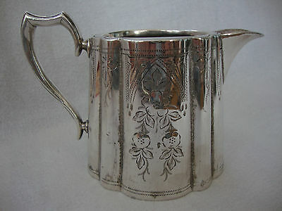 A Good Heavy Quality English Engraved Silver Plated Milk / Creamer Jug