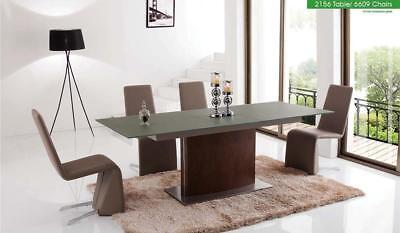 ESF 2156 Table With 6609 Chairs Dining Set 5pc. Glass Top Contemporary Modern
