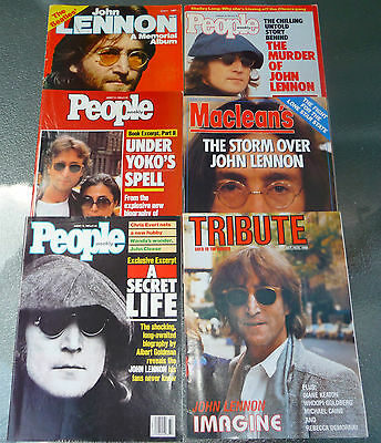 John Lennon Magazine Lot of 6 (Maclean's, People, Tribute, Memorial Album)