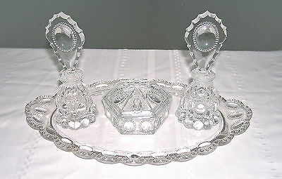 L.e. Smith Clear Glass #455 Beaded Medallion 7 Piece Vanity Set Circa 1943
