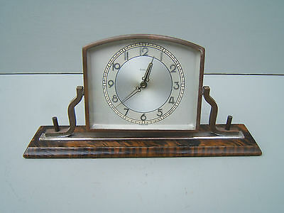 Vintage  desktop wind up clock chromed brass 8 day unusual   M18