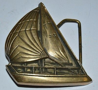 Vintage 1979 Sailing Nautical Boating Sail Boat Solid Brass Belt Buckle Rare