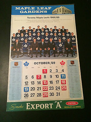 1969 Export A  Toronto Maple Leaf Gardens complete calendar (great condition)