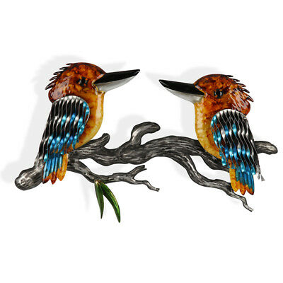 Pair Of Kookaburras Metal Wall Art 53cm  Australian Bird Metal Sculpture Garden
